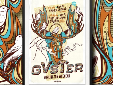 Guster illustration screen print poster art gig poster