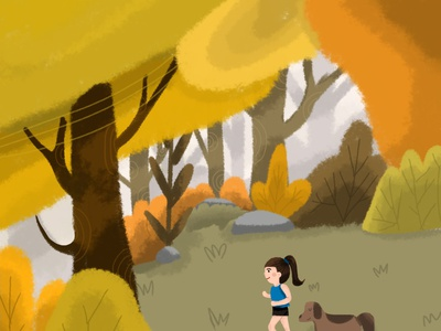 Running with My Dog vector childrens illustration childrens book children book illustration illustration design