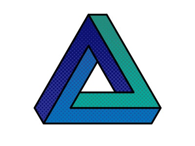 Impossible Triangle (Penrose Triangle) impossible objects optical illusions green blue texture illustrator penrose triangle impossible triangle