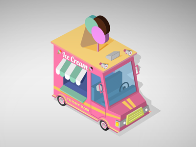 Isometric Ice Cream Truck ice cream truck truck ice cream isometric