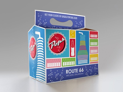 Pops Route 66 Soda Carrier Redesign pops route 66 route 66 soda photoshop graphic design illustrator packaging design