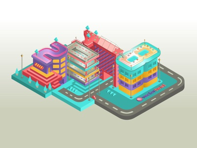 Isometric Buildings Numbers 2018 adobe illustrator cc isometric illustration illuatration isometric isometric design
