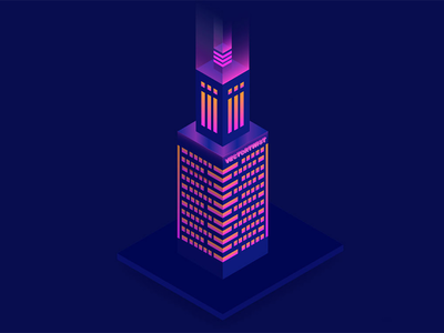 Isometric City Building Night Time
