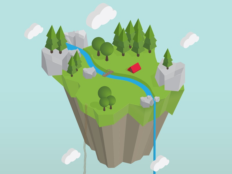 3d Floating Island 3d illustration isometric illustration vector