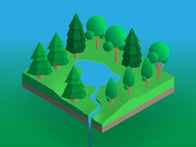 IsometricTrees Island illustration vectortwist vector illustrator adobe illustrator cc isometric art isometric illustration isometric