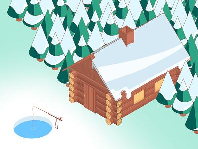 Log Cabin - Winter is coming isometric illustration illustrator 3d illustration speed art vector adobe illustrator cc vectortwist illustration adobe illustrator isometric design isometric isometric art