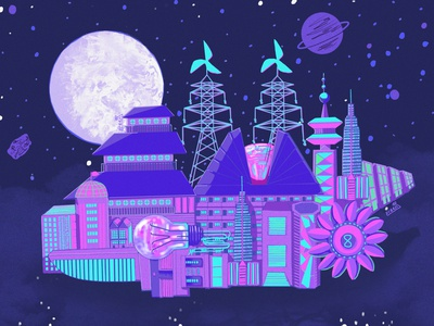Space Exploration galaxy moon architecture synthwave vaporwave concept art illustration digital art aesthetic