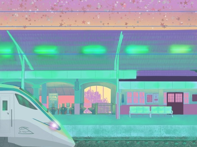 Hometown Station digital art architecture illustration aesthetic