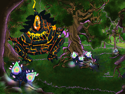 Mystical Forest landscape dnd magical golem forest aesthetic nature concept art illustration digital art