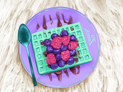 Aesthetic Breakfast purple fruits aesthetic illustration digital art food illustration tasty culinary dessert food