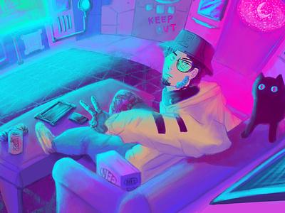 Bedroom Chilling room background cyberpunk synthwave vaporwave aesthetic illustration dtiys digital art