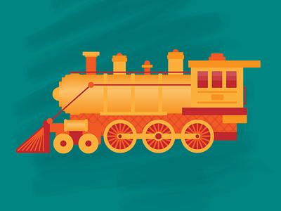 Chew-Chew Train Illustration illustrator modern simple logo clean transportation logo art cartoon webdesign productdesign app cute train print animation mobile ux ui drawing illustration