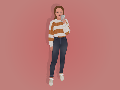 Posing Woman Illustration animation mobile vector ux ui cartoon art characterdesign character drawing illustrator illustration