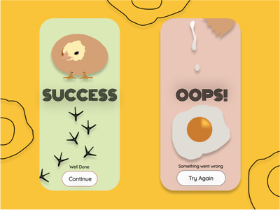 #UI011 Flash Message design illustration oops success chicken uidesign ui ui011