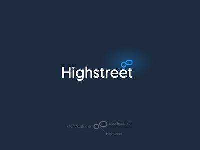 Highstreet IT Logo Design infinity dark blue it solutions it tech symbol branding brand icon design modern logo