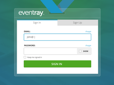 Eventray Login design user experience events modern login ui