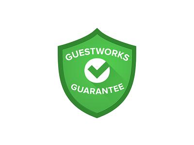 GuestWorks Gaurantee gradient simple material design modern clean illustration badge design logo design logo