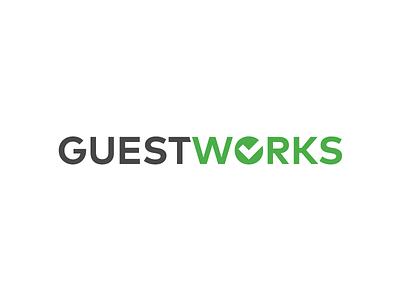 GuestWorks Logo logomark branding brand typography type simple modern clean illustration design logo design logo