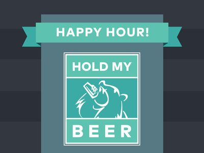 Hold My Beer event logo event beer material design logo teal banner bear happy hour