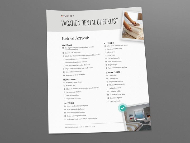 Vacation Rental Checklist handout content design content paper print checklist