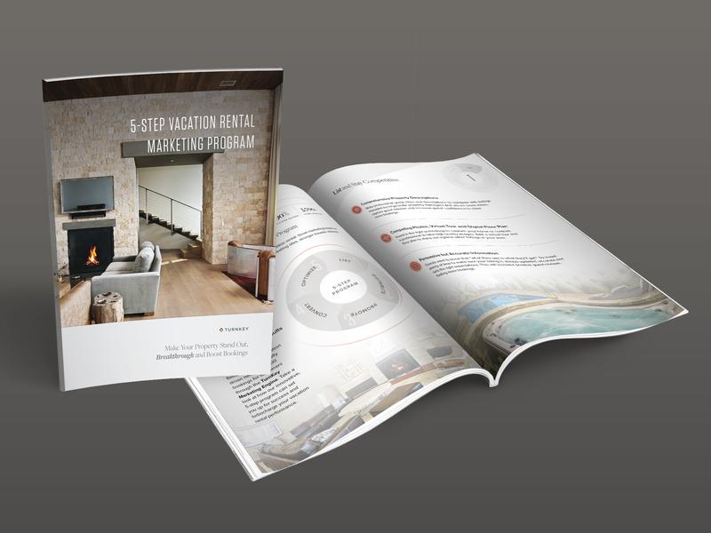 5 Step Vacation Rental Marketing Program icons cover art cover artwork cover design magazine diagram print design brochure