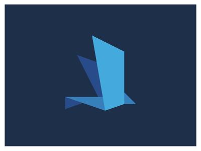 Origami Bird Logo design modern icon vector material design material ui geometric blue origami logo brand design