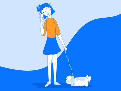 Girl on the phone girl mobile phone digital design character branding illustration