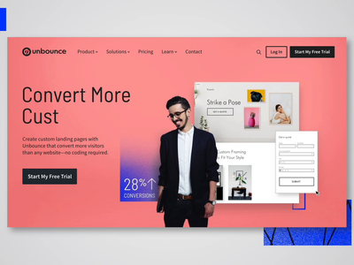 Unbounce Homepage saas agency ecommerce bicycle landing page forms builder leads conversions photography website webdesign digital marketing brand design unbounce branding
