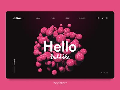 Hello Dribbble web first shot hello dribbble hello 3d animation ui design