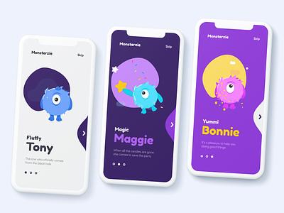 Monsterzie welcome screens mobile app onboarding cartoon mobile design ui