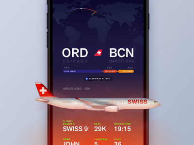 Boarding Pass Concept concept iphone 7 ui ios tracking map pass boarding flight airplane