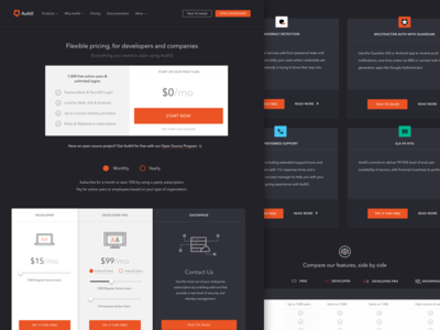 Pricing table comparison addons free developer enterprise auth0 authentication sell buy plans pricing