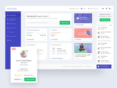 Clinic Dashboard - WIP live chat menu doctor card design ux ui dashboard