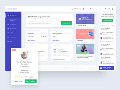 Clinic Dashboard - WIP live chat menu doctor card design ux ui dashboard