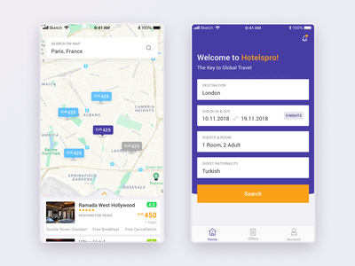 B2B Project - Mobile Version map hotel booking interaction ux ui design mobile app pwa app mobile
