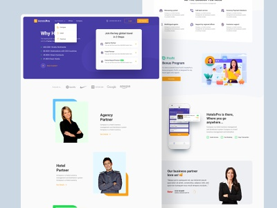 Hotelspro landing page product animation interaction card mobile web design app ux ui landing page landing