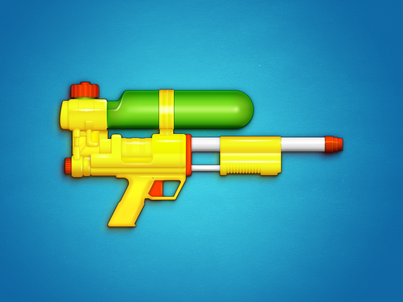 Weapon of choice super soaker illustration icon toy weapon game gun rifle water gun