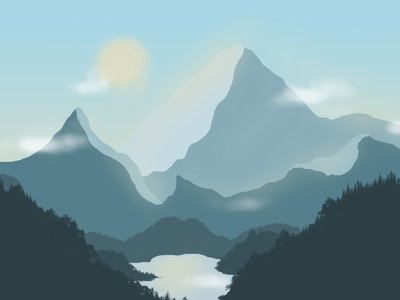 illustration montagnes insta landscape flatdesign digitalart design