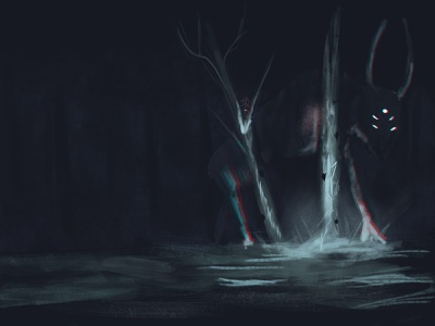 Monster in the night photoshop night monster landscape illustration digitalart design