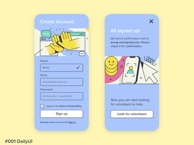 Daily UI Design #001 · Sign Up application app design ux  ui uxdesign uxui art design art dailyuichallenge daily ui dailyui designer ui design uidesign ui  ux uiux app ux ui illustration design