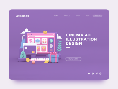 3D illustration ecommerce shopping ui design c4d octane illustration