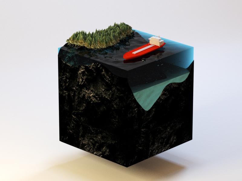 West coast vibes 3d orca ship isometric cinema4d