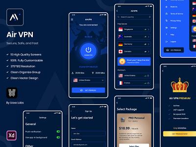 VPN App UI Kit premium plans premium vpn mobile ui dashboard design ui trend minimal design design trend mobile app design uiux design ux design vpn app design app design