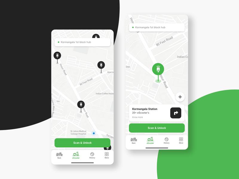 Rent an eScooter - Map view  ( light theme )