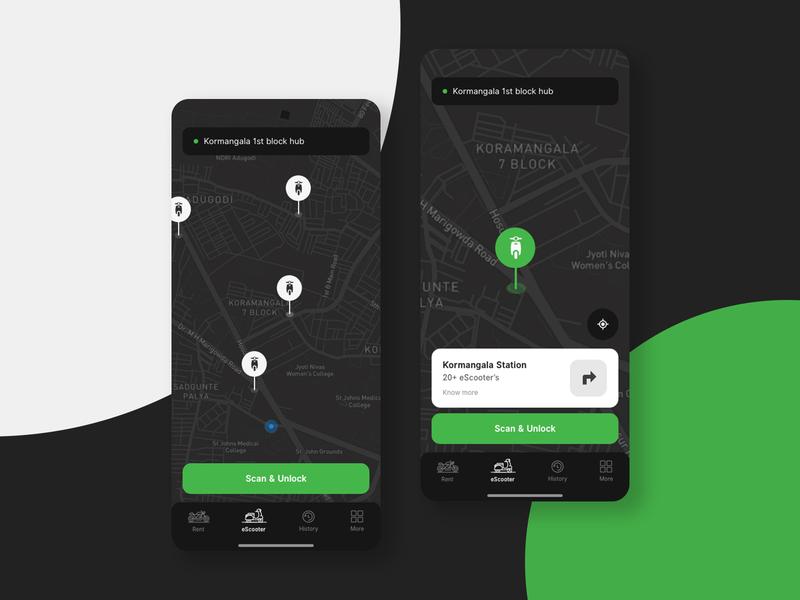 Rent an eScooter - Map view ( Dark theme )