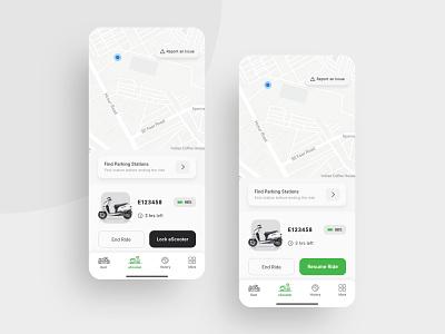 Ride screen - Pause & Resume options ( light theme ) flat design mobility micromobility ui  ux adobe xd uidesign app design interface booking app location ui flat app travel minimal uiux design