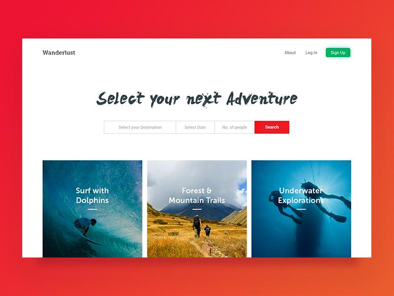 Wanderlust | Homepage website travel homepage explore web design