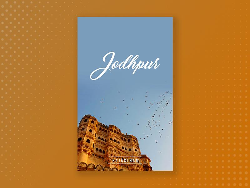 Travel poster 3 | Jodhpur travel search poster minimal location flat design