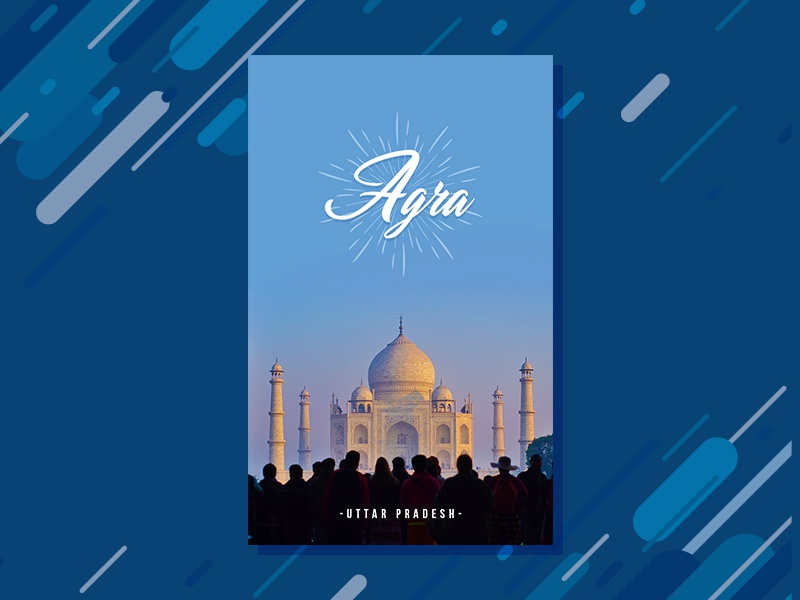 Travel poster 5 | Agra tajmahal travel search poster minimal location flat design