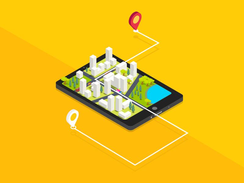 City in Mobile App map design isometric illustration